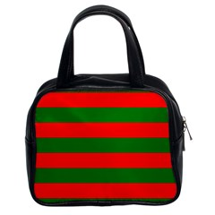 Red And Green Christmas Cabana Stripes Classic Handbags (2 Sides) by PodArtist