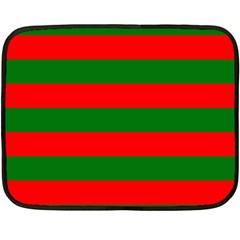 Red And Green Christmas Cabana Stripes Fleece Blanket (mini) by PodArtist
