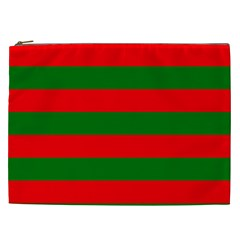 Red And Green Christmas Cabana Stripes Cosmetic Bag (xxl)  by PodArtist