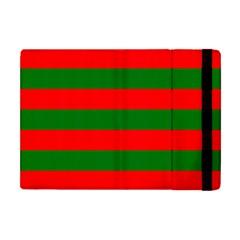Red And Green Christmas Cabana Stripes Apple Ipad Mini Flip Case by PodArtist