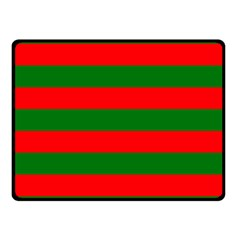 Red And Green Christmas Cabana Stripes Double Sided Fleece Blanket (small)  by PodArtist