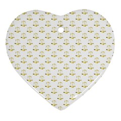 Gold Scales Of Justice On White Repeat Pattern All Over Print Ornament (heart) by PodArtist