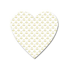 Gold Scales Of Justice On White Repeat Pattern All Over Print Heart Magnet by PodArtist