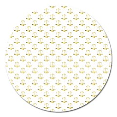Gold Scales Of Justice On White Repeat Pattern All Over Print Magnet 5  (round) by PodArtist