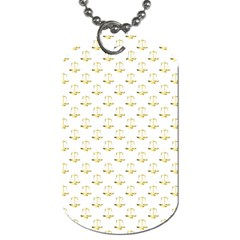 Gold Scales Of Justice On White Repeat Pattern All Over Print Dog Tag (two Sides) by PodArtist