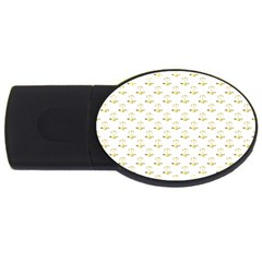 Gold Scales Of Justice On White Repeat Pattern All Over Print Usb Flash Drive Oval (2 Gb) by PodArtist