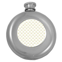 Gold Scales Of Justice On White Repeat Pattern All Over Print Round Hip Flask (5 Oz) by PodArtist