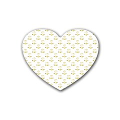 Gold Scales Of Justice On White Repeat Pattern All Over Print Heart Coaster (4 Pack)  by PodArtist
