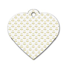 Gold Scales Of Justice On White Repeat Pattern All Over Print Dog Tag Heart (one Side) by PodArtist