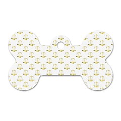 Gold Scales Of Justice On White Repeat Pattern All Over Print Dog Tag Bone (one Side) by PodArtist
