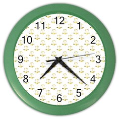 Gold Scales Of Justice On White Repeat Pattern All Over Print Color Wall Clocks by PodArtist