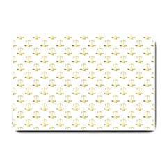 Gold Scales Of Justice On White Repeat Pattern All Over Print Small Doormat  by PodArtist