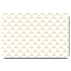 Gold Scales Of Justice On White Repeat Pattern All Over Print Large Doormat  by PodArtist