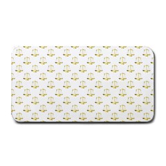 Gold Scales Of Justice On White Repeat Pattern All Over Print Medium Bar Mats by PodArtist