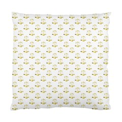 Gold Scales Of Justice On White Repeat Pattern All Over Print Standard Cushion Case (one Side) by PodArtist