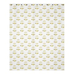 Gold Scales Of Justice On White Repeat Pattern All Over Print Shower Curtain 60  X 72  (medium)  by PodArtist
