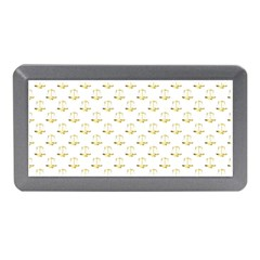 Gold Scales Of Justice On White Repeat Pattern All Over Print Memory Card Reader (mini) by PodArtist