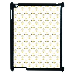 Gold Scales Of Justice On White Repeat Pattern All Over Print Apple Ipad 2 Case (black) by PodArtist