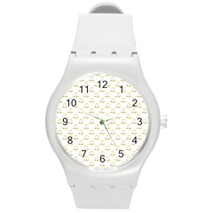 Gold Scales Of Justice On White Repeat Pattern All Over Print Round Plastic Sport Watch (m) by PodArtist