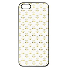 Gold Scales Of Justice On White Repeat Pattern All Over Print Apple Iphone 5 Seamless Case (black) by PodArtist