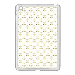 Gold Scales Of Justice On White Repeat Pattern All Over Print Apple Ipad Mini Case (white) by PodArtist