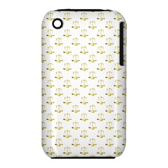 Gold Scales Of Justice On White Repeat Pattern All Over Print Iphone 3s/3gs by PodArtist