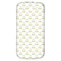 Gold Scales Of Justice On White Repeat Pattern All Over Print Samsung Galaxy S3 S Iii Classic Hardshell Back Case by PodArtist
