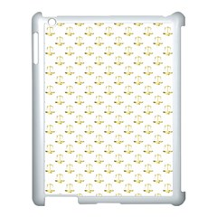 Gold Scales Of Justice On White Repeat Pattern All Over Print Apple Ipad 3/4 Case (white) by PodArtist