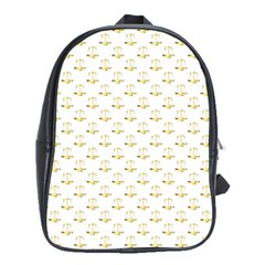 Gold Scales Of Justice On White Repeat Pattern All Over Print School Bag (xl) by PodArtist