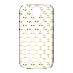 Gold Scales Of Justice On White Repeat Pattern All Over Print Samsung Galaxy S4 Classic Hardshell Case (pc+silicone) by PodArtist
