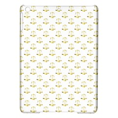 Gold Scales Of Justice On White Repeat Pattern All Over Print Ipad Air Hardshell Cases by PodArtist