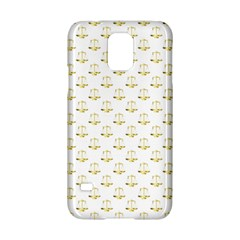 Gold Scales Of Justice On White Repeat Pattern All Over Print Samsung Galaxy S5 Hardshell Case  by PodArtist