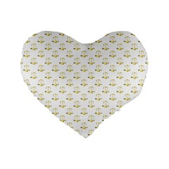 Gold Scales Of Justice On White Repeat Pattern All Over Print Standard 16  Premium Flano Heart Shape Cushions by PodArtist
