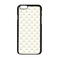 Gold Scales Of Justice On White Repeat Pattern All Over Print Apple Iphone 6/6s Black Enamel Case by PodArtist
