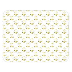 Gold Scales Of Justice On White Repeat Pattern All Over Print Double Sided Flano Blanket (large)  by PodArtist
