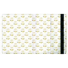 Gold Scales Of Justice On White Repeat Pattern All Over Print Apple Ipad Pro 9 7   Flip Case by PodArtist