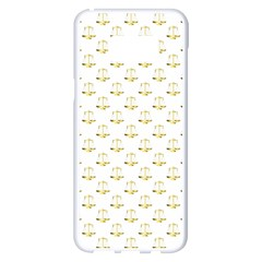 Gold Scales Of Justice On White Repeat Pattern All Over Print Samsung Galaxy S8 Plus White Seamless Case by PodArtist