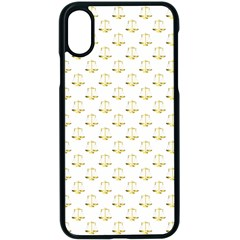 Gold Scales Of Justice On White Repeat Pattern All Over Print Apple Iphone X Seamless Case (black) by PodArtist
