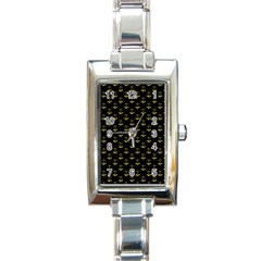 Gold Scales Of Justice On Black Repeat Pattern All Over Print  Rectangle Italian Charm Watch by PodArtist
