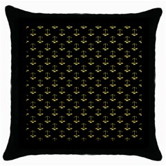 Gold Scales Of Justice On Black Repeat Pattern All Over Print  Throw Pillow Case (black) by PodArtist