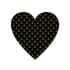 Gold Scales Of Justice On Black Repeat Pattern All Over Print  Heart Magnet by PodArtist
