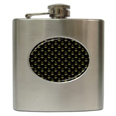 Gold Scales Of Justice On Black Repeat Pattern All Over Print  Hip Flask (6 Oz) by PodArtist