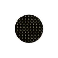 Gold Scales Of Justice On Black Repeat Pattern All Over Print  Golf Ball Marker (10 Pack) by PodArtist