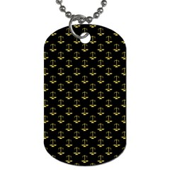 Gold Scales Of Justice On Black Repeat Pattern All Over Print  Dog Tag (two Sides) by PodArtist