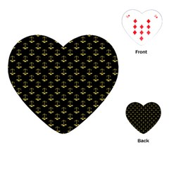 Gold Scales Of Justice On Black Repeat Pattern All Over Print  Playing Cards (heart)  by PodArtist