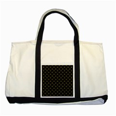 Gold Scales Of Justice On Black Repeat Pattern All Over Print  Two Tone Tote Bag by PodArtist