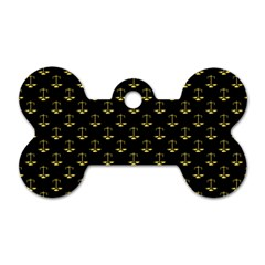 Gold Scales Of Justice On Black Repeat Pattern All Over Print  Dog Tag Bone (one Side) by PodArtist