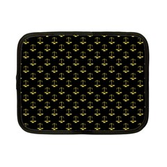 Gold Scales Of Justice On Black Repeat Pattern All Over Print  Netbook Case (small)  by PodArtist