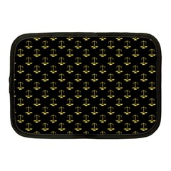 Gold Scales Of Justice On Black Repeat Pattern All Over Print  Netbook Case (medium)  by PodArtist