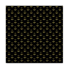 Gold Scales Of Justice On Black Repeat Pattern All Over Print  Face Towel by PodArtist